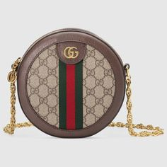 45b50dcec163a3 Ophidia mini GG round shoulder bag in Beige/ebony GG Supreme canvas, a  material with low environmental impact
