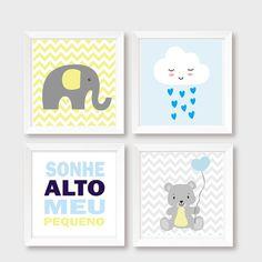 Decoração Bebê Elefante Nuvem Urso Baby Shower, Mom And Baby, Baby Accessories, Baby Room, Tatoos, Diy And Crafts, Nursery, Wall Art, Frame
