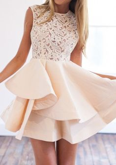 Apricot Patchwork Lace Irregular Round Neck Mini Dress