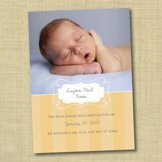 DIY Ready to Print Birth Announcement