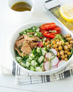 Chickpea Fattoush Nourish Bowl | A Couple Cooks