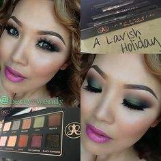 Makeup of the Day Anastasia Beverly Hills Lavish Holiday Palette  Cream (highlight), Orange Soda & Sienna (crease & under eyes), covet waterproof eyeliner Noir (all over the lids, waterline and under eyes) Moss (lids, under eyes)  black diamond (outer V) I love this palette! It's perfect for a fall smokey eye looks.