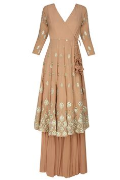 Astha Narang presents Peach and gold gota flowers angrakha anarkali and garara pants set available only at Pernia's Pop Up Shop.