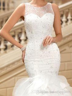 2016 Vintage Wedding Dresses Custom Made Real Pic Beaded Sequins Bridal Gowns Jewel Sleeveles Ruffled Buttom Cheap Weddings Gown Mermaid Wedding Dresses Bridal Gowns 2016 Mermaid Dress Online with $225.14/Piece on Yahuifang2016's Store | DHgate.com