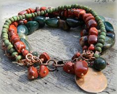 Fancy Jasper and Red Jasper with copper bracelet for autumn by Gloria Ewing