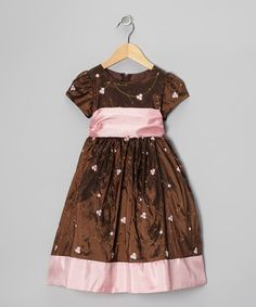 Take a look at this Brown & Pink Floral Taffeta Dress - Toddler & Girls by Sweet Kids on #zulily today!