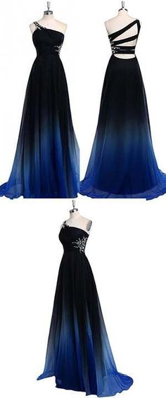 Ombre A Line One Shoulder Beading Chiffon Prom Dress,Gradient Formal Dress
