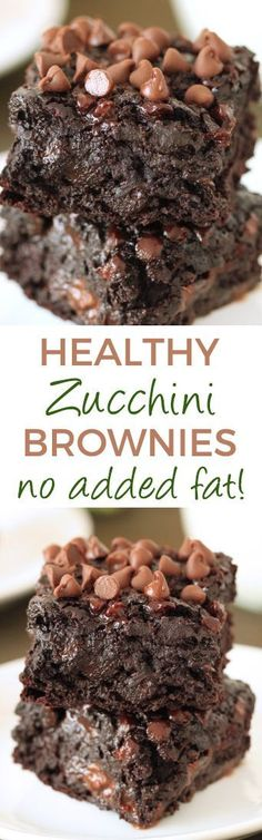 Chocolate Zucchini Brownies - 100% whole grain (but can also be made with AP flour), dairy-free, and they have no added fat other than what is in the chocolate chips! So gooey and chocolatey, nobody will have a clue that these are made healthier! Chocolate Zucchini Bars, Zuchinni Brownies, Healthy Zucchini Brownies, Sugar Free Zucchini Brownies, Dairy Free Brownies, Zucchini Desserts, Zuchinni Cupcakes, Healthy Chocolate Cakes, Zuchinni Chips