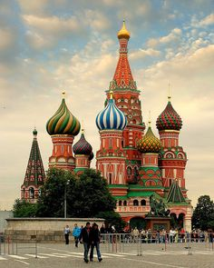 St. Basil's Cathedral in Moscow, Russia  the colors are so vivid.  It must be something to see