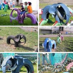 Upcycled playground ideas.These Tire-Elephants are a great idea! Das hieß früher abenteuer spielplatz