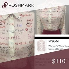Blouse MSGM White Love Quote Blouse MSGM Tops Blouses