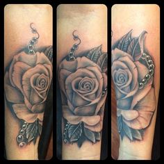 Black and gray rose with pearls as a cover up. #tattoo #rose #tattooidea #coverup Done by Josh Ludlow @ Rogue Tattoo in Medford, OR.