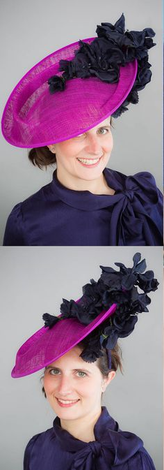 Hand made hatinator hat in hot pink and blue, perfect for summer wedding guest or Melbourne Cup, Royal Ascot Kentucky Derby, Mother of the Bride Fascinator Hat. Floral Racing fashion wedding guest headpiece. Outfit ideas and inspiration. #springracing #kentuckyderby #derbyoutfits #royalascot #ascothats #derbyhats #Delmarraces #motherofthebride #outfits #fashion #fashionista #affiliatelink #fascinators