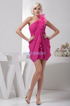 free shipping women 2016 new design hot seller elegant plus size knee-length formal brides maid one shoulder short prom dress