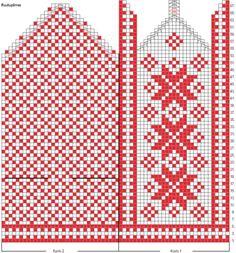 Perinteiset kirjoneulelapaset, ruutupiirros Knitted Mittens Pattern, Knit Mittens, Knitted Gloves, Knitting Socks, Knitting Charts, Knitting Stitches, Knitting Needles, Knitting Patterns, Scandinavian Pattern
