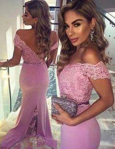 Elegant V-neck Cap Sleeves Lace Mermaid Purple Prom/Evening Dress