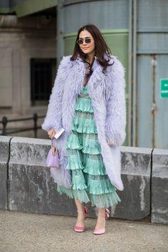 light purple long hair faux fur coat, lilac color faux fur coat, pastel green ruffle dress, satin pink shoes, light violet color faux fur coat,