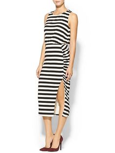 Striped Gather Knit Midi