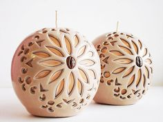 Carved handmade Candle Bowl-beige Brown peach colour-interior candle balls-a unique gift-author
