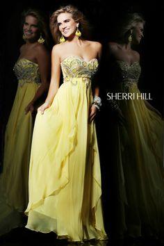 Sherri Hill Prom Gowns and Dresses for 2016 Sherri Hill 3867 Sherri Hill Yellow Homecoming Dresses, Sherri Hill Prom Dresses, Unique Prom Dresses, Dressy Dresses, Prom Party Dresses, Formal Evening Dresses, Strapless Dress Formal, Nice Dresses, Prom Gowns