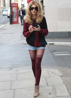 shorts with patterned tights