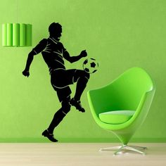 Wall Decals Sport Football Soccer Man Gym Vinyl Sticker Murals Wall Decor KG86
