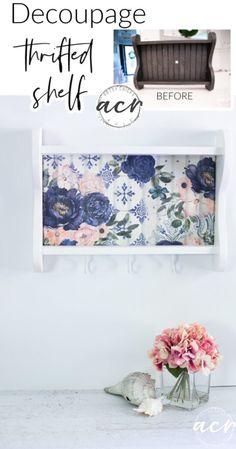 Furniture Makeover, Diy Furniture, Shelf Makeover, Diy Mod Podge, White Spray Paint, Master Shower, Pretty Roses, Cream Roses, Decoupage Paper