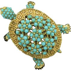 CINER Vintage Faux Turquoise Beaded Figural Turtle Brooch