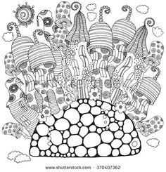 Fantasy fairy houses in the magic forest. Pattern for coloring book. Mushrooms, flowers, sun. Black and white pattern. Sketch by trace. Zentangle.