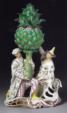 The quality of small-scale sculpture produced by the German porcelain factories depended wholly on the talent of factory modellers. Luck at Frankenthal were particularly imaginative. Fine Porcelain, Porcelain Ceramics, Dresden, Chinoiserie, Small Figurines, Albert Museum, Artichokes, Orient, Art Object