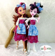 Dirndl für Ever After High Monster High  6815010 Dirndl Fleur Bleu Puppenkleid Upcycling Kleid Schürze Märchen Fashion Set