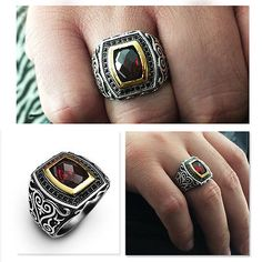 LARGE Men's Ring SOLID 925 STERLING SILVER Red Garnet Stone Turkish Ottoman | Jewelry & Watches, Men's Jewelry, Rings | eBay!