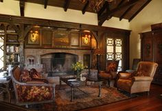 Interior of Harper & Adeline Worthington's home -- strong, masculine, spacious.