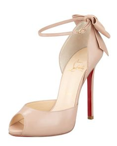 Dos Noeud Peep-Toe Ankle Wrap Red Sole Pump, Nude by Christian Louboutin at Bergdorf Goodman.