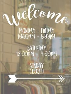 Welcome Business Hours Decal // Open to Close // Hours of Operation // Commercial Grade Premium Vinyl // by DADesignsInk on Etsy Business Hours Sign, Business Signs, Business Names, Business Ideas, Etsy Business, Window Mural, Window Signs, Salon Interior Design, Salon Design