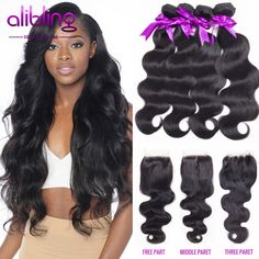 7A Brazilian Virgin Hair With Closure 3 or 4 Bundles With Lace Closures Human Hair Weave Bundle Brazilian Body Wave With Closure <3 Find similar products by clicking the VISIT button