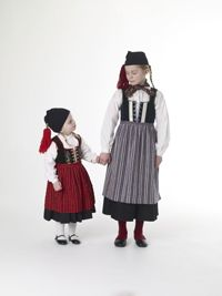 Taditional icelandic girl costume from 19th century