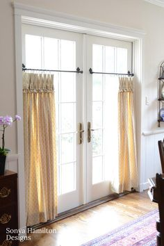 The pleated cafe curtains and iron hardware brought just the right amount of warmth, pattern and color to this traditional dining room. French Doors Bedroom, French Door Curtains, French Doors Patio, Dining Room Curtains, Cool Curtains, Privacy Curtains, Traditional Dining Rooms, Cool Cafe, Curtains