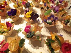 Floral canapés made for Darts Farm Harvest Supper by Maddocks Farm Organics.