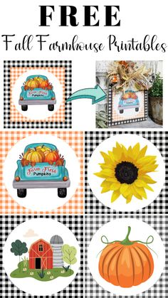 Get these Free Fall Farmhouse Printables to create decor Fall Projects, Craft Projects, Craft Ideas, Pumpkin Printable, Budget Crafts, Paper Crafts, Diy Crafts, Autumn Crafts, Happy Fall