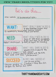 So your kids are set with their New Year's printable and now it's your turn! I made a New Years Resolution sheet for you to fill out with a little twist.  A few years ago I fell in love with Danyelle's want need wear read idea for Christmas.  Instead of my normal resolutions, I tried to think out