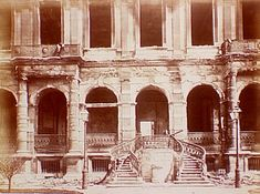 Tuileries, after 1871 fire, facade., Siege of Paris, Special Collections, Northwestern University Library