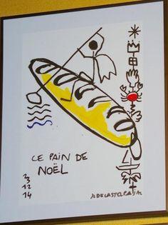 """Jean-Charles de Castelbajac """"Ce pain de Noël"""" Dessin. 50 cm x 40 cm. - Sapins de Noël des Créateurs - 15/12/2014"""