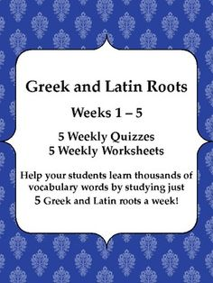 $5 for 5 weeks of Greek and Latin roots work