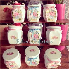Handpainted and decoupaged jars..https://www.facebook.com/pages/Rabis_craftstore/893185354121935.