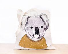 Koala  screen printed canvas Tote bag by depeapa on Etsy, $22.00