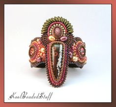 RESERVED for T  Bead embroidered bracelet with by koolbeadedstuff, $105.00