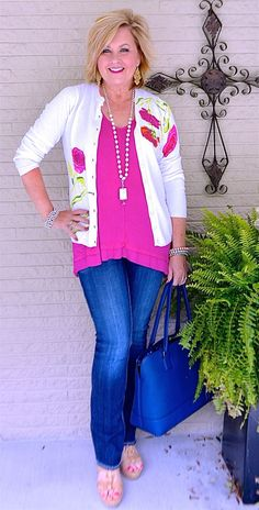 50 IS NOT OLD | I CHOOSE HAPPY | Embellishments | Bootcut jeans | Bright Colors | Fashion over 40 for the everyday woman