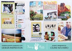 Two-page project life spread by Celine Navarro featuring the Down by the Shore and Trendsetter collections and Artist Edition Stencils by Fancypantsdesigns.com
