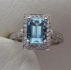 Natural Aquamarine with Diamond Halo Engagement by DeAguiarDesigns